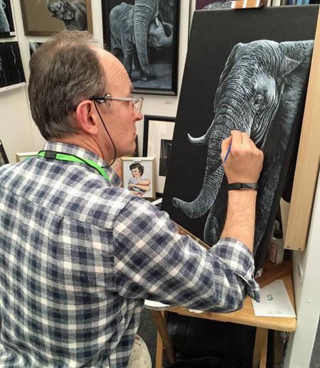 Artist working at Bath Art Fair