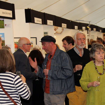 Art Venue, people talking to artists at Bath Art show