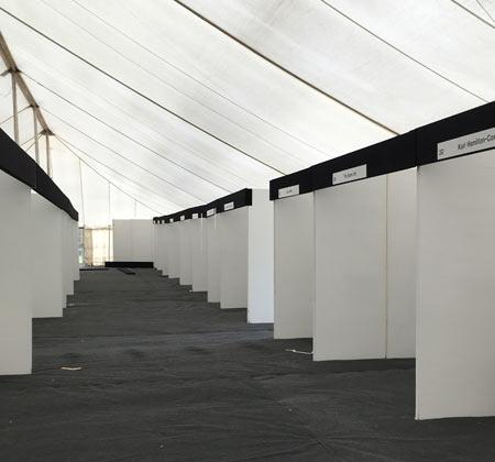 Stands before exhibitors arriving at Bath Art Fair