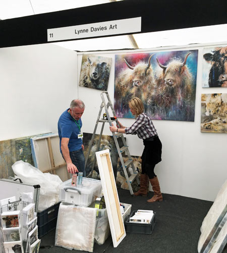 Bath Art Fair exhibitors putting up stand